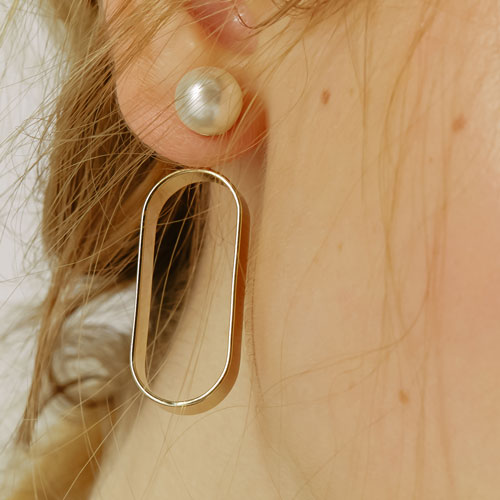 #338 PEARL ROUND EARRING