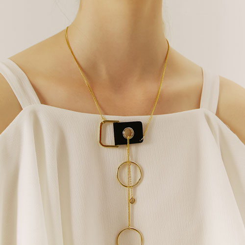 #328 RING POINT SMALL LOGO NECKLACE [GOLD]